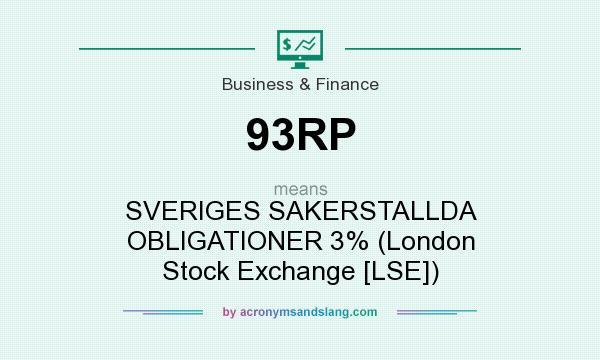 What does 93RP mean? It stands for SVERIGES SAKERSTALLDA OBLIGATIONER 3% (London Stock Exchange [LSE])