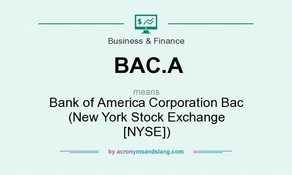 What does BAC.A mean? It stands for Bank of America Corporation Bac (New York Stock Exchange [NYSE])