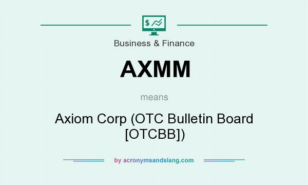 What does AXMM mean? It stands for Axiom Corp (OTC Bulletin Board [OTCBB])