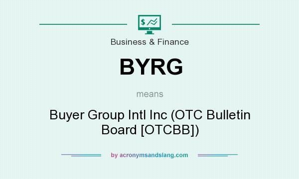 What does BYRG mean? It stands for Buyer Group Intl Inc (OTC Bulletin Board [OTCBB])