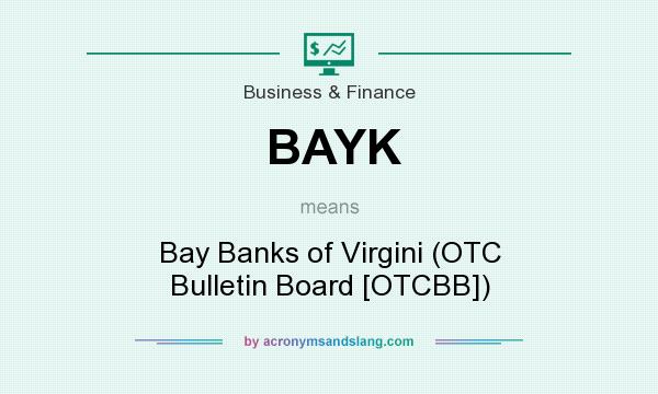 What does BAYK mean? It stands for Bay Banks of Virgini (OTC Bulletin Board [OTCBB])