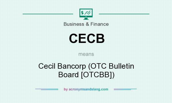What does CECB mean? It stands for Cecil Bancorp (OTC Bulletin Board [OTCBB])