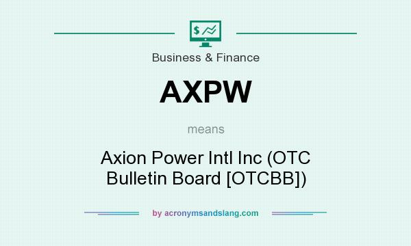 What does AXPW mean? It stands for Axion Power Intl Inc (OTC Bulletin Board [OTCBB])
