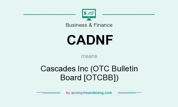 What does CADNF mean? It stands for Cascades Inc (OTC Bulletin Board [OTCBB])