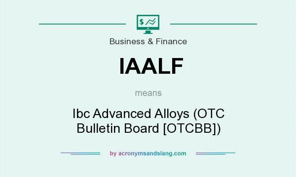 What does IAALF mean? It stands for Ibc Advanced Alloys (OTC Bulletin Board [OTCBB])