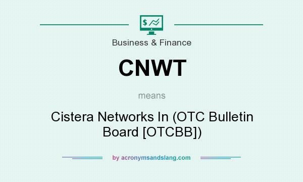 What does CNWT mean? It stands for Cistera Networks In (OTC Bulletin Board [OTCBB])