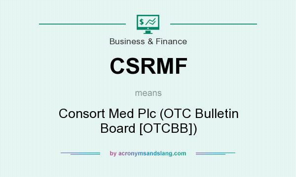 What does CSRMF mean? It stands for Consort Med Plc (OTC Bulletin Board [OTCBB])