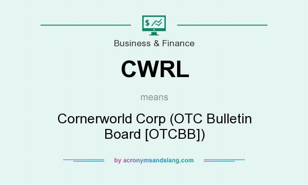 What does CWRL mean? It stands for Cornerworld Corp (OTC Bulletin Board [OTCBB])