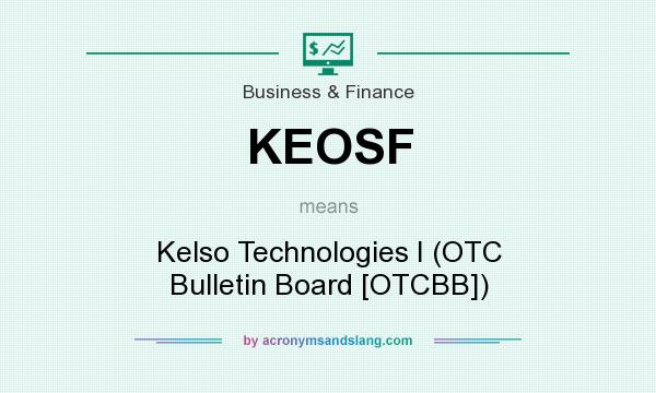What does KEOSF mean? It stands for Kelso Technologies I (OTC Bulletin Board [OTCBB])