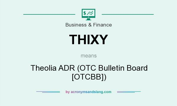 What does THIXY mean? It stands for Theolia ADR (OTC Bulletin Board [OTCBB])