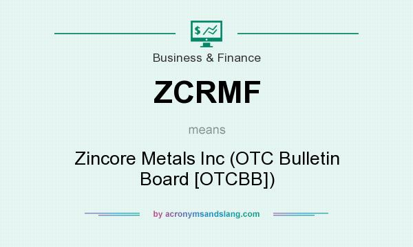 What does ZCRMF mean? It stands for Zincore Metals Inc (OTC Bulletin Board [OTCBB])