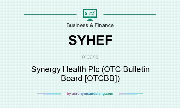 What does SYHEF mean? It stands for Synergy Health Plc (OTC Bulletin Board [OTCBB])