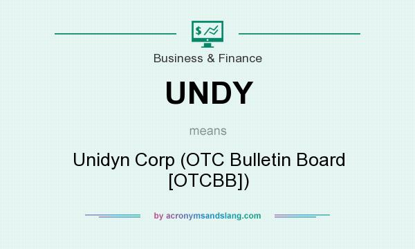 What does UNDY mean? It stands for Unidyn Corp (OTC Bulletin Board [OTCBB])