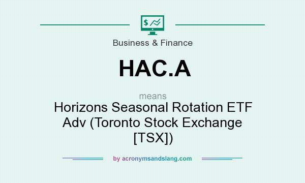 What does HAC.A mean? It stands for Horizons Seasonal Rotation ETF Adv (Toronto Stock Exchange [TSX])
