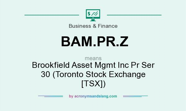 What does BAM.PR.Z mean? It stands for Brookfield Asset Mgmt Inc Pr Ser 30 (Toronto Stock Exchange [TSX])