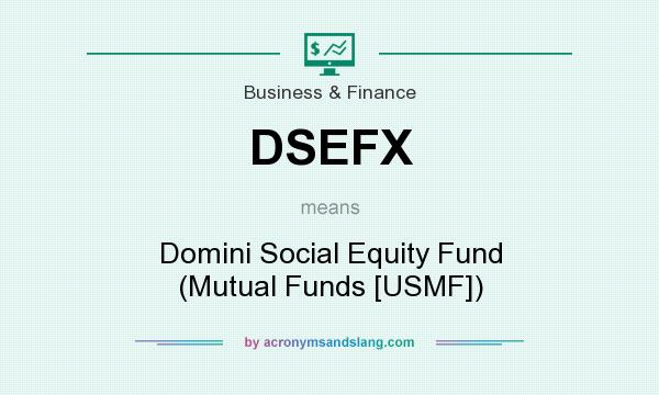 What does DSEFX mean? It stands for Domini Social Equity Fund (Mutual Funds [USMF])