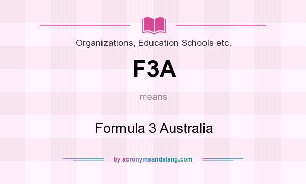 What does F3A mean? It stands for Formula 3 Australia