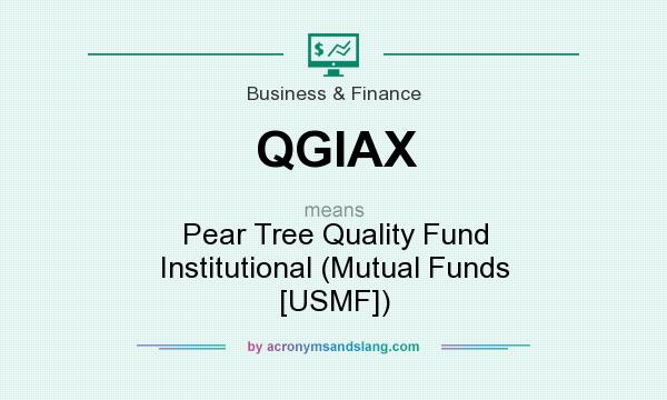 What does QGIAX mean? It stands for Pear Tree Quality Fund Institutional (Mutual Funds [USMF])