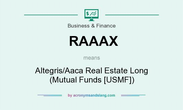 What does RAAAX mean? It stands for Altegris/Aaca Real Estate Long (Mutual Funds [USMF])