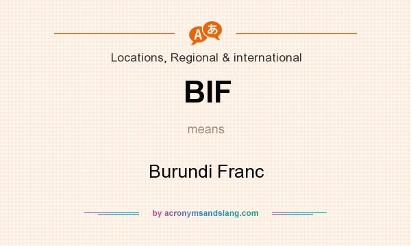 What does BIF mean? It stands for Burundi Franc