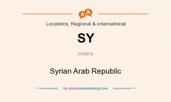 What does SY mean? It stands for Syrian Arab Republic