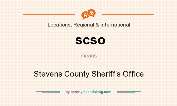 What does scso mean? It stands for Stevens County Sheriff`s Office