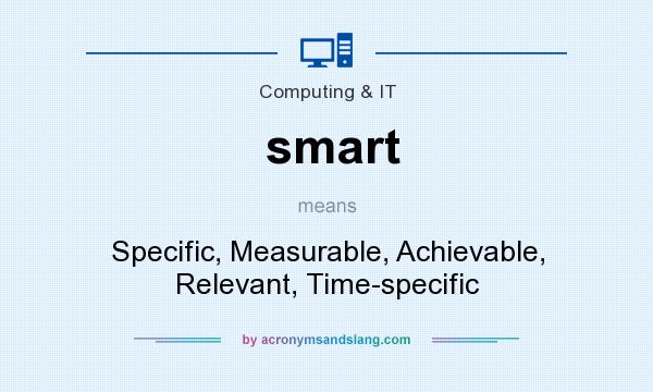 What does smart mean? It stands for Specific, Measurable, Achievable, Relevant, Time-specific