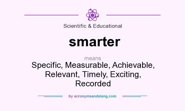 What does smarter mean? It stands for Specific, Measurable, Achievable, Relevant, Timely, Exciting, Recorded