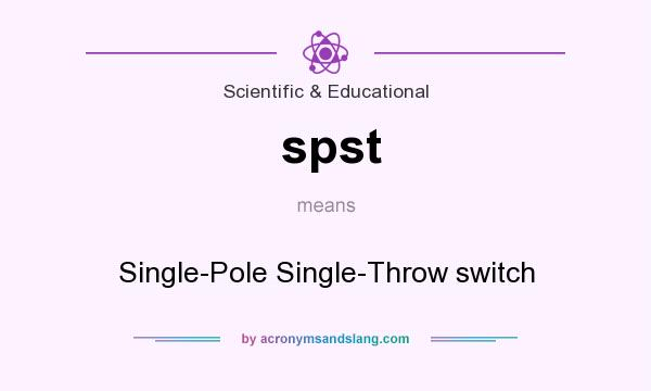 What does spst mean? It stands for Single-Pole Single-Throw switch