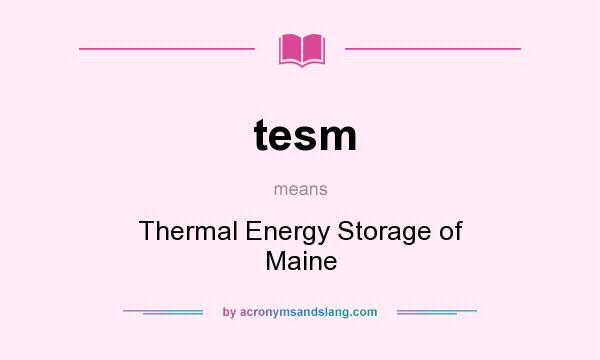 What does tesm mean? It stands for Thermal Energy Storage of Maine
