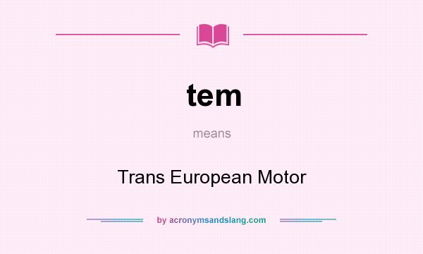 What does tem mean? It stands for Trans European Motor
