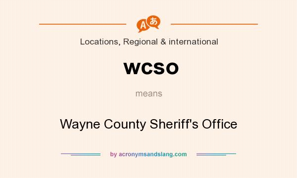 What does wcso mean? It stands for Wayne County Sheriff`s Office