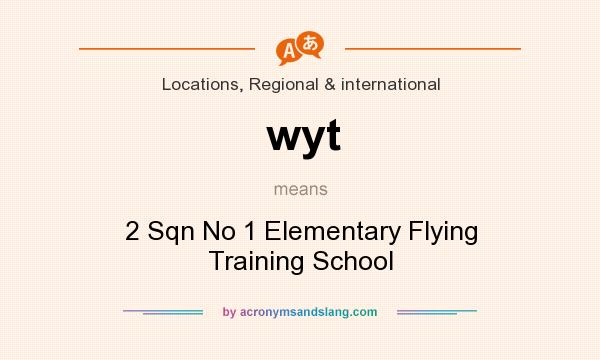 What does wyt mean? It stands for 2 Sqn No 1 Elementary Flying Training School