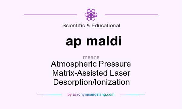 What does ap maldi mean? It stands for Atmospheric Pressure Matrix-Assisted Laser Desorption/Ionization
