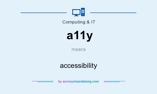 What does a11y mean? It stands for accessibility
