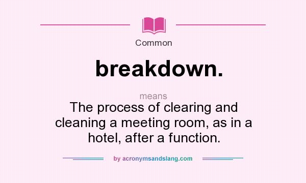 What does breakdown. mean? It stands for The process of clearing and cleaning a meeting room, as in a hotel, after a function.