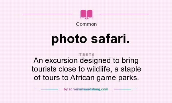 Definition Of Photo Safari.   Photo Safari. Stands For An Excursion  Designed To Bring Tourists Close To Wildlife, A Staple Of Tours To African  Game Parks.