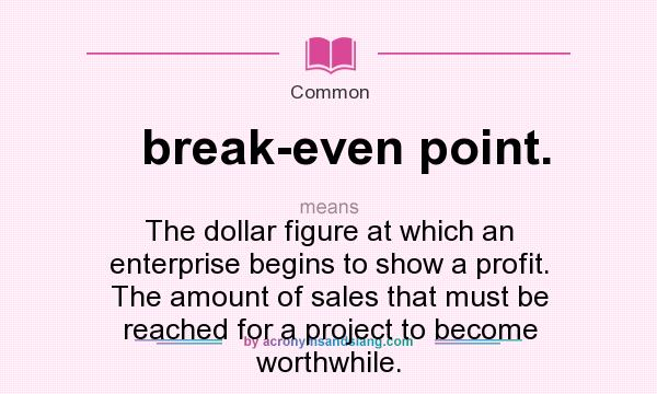 how to find break even point in dollars