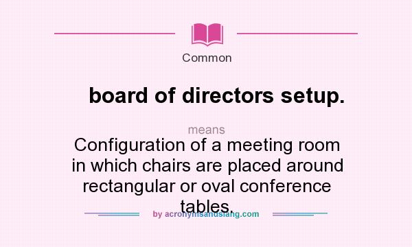 What Does Board Of Directors Setup Mean Definition Of Board Of