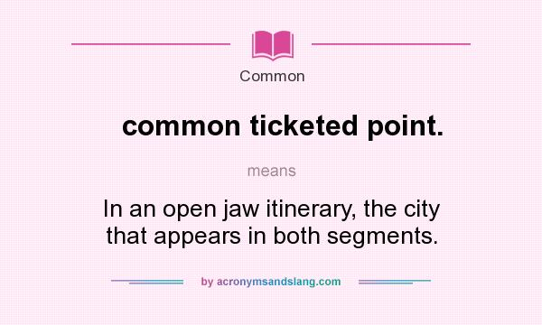 What does common ticketed point. mean? It stands for In an open jaw itinerary, the city that appears in both segments.
