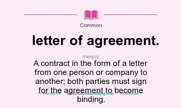 Letter Of Agreement Definition Erkalnathandedecker