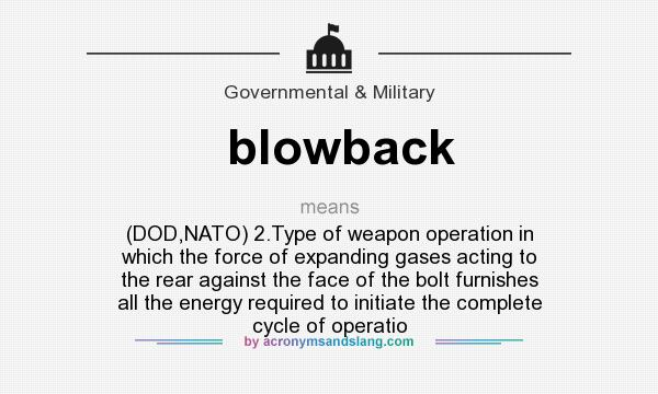What does blowback mean? It stands for (DOD,NATO) 2.Type of weapon operation in which the force of expanding gases acting to the rear against the face of the bolt furnishes all the energy required to initiate the complete cycle of operatio