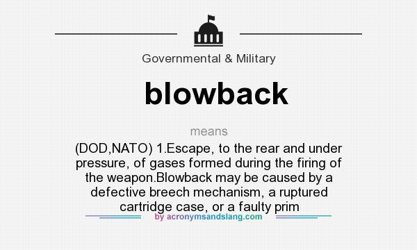 What does blowback mean? It stands for (DOD,NATO) 1.Escape, to the rear and under pressure, of gases formed during the firing of the weapon.Blowback may be caused by a defective breech mechanism, a ruptured cartridge case, or a faulty prim