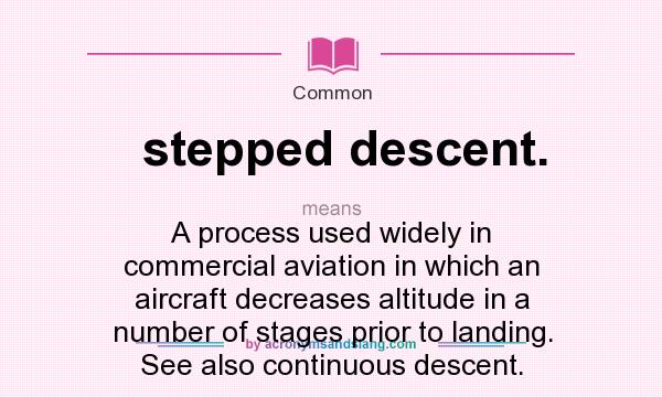 What does stepped descent. mean? It stands for A process used widely in commercial aviation in which an aircraft decreases altitude in a number of stages prior to landing. See also continuous descent.