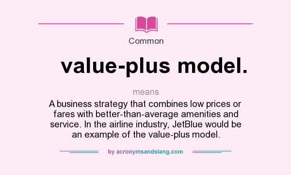 What does value-plus model. mean? It stands for A business strategy that combines low prices or fares with better-than-average amenities and service. In the airline industry, JetBlue would be an example of the value-plus model.