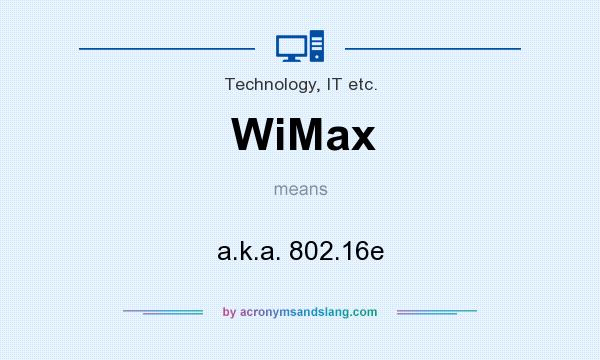 What does WiMax mean? It stands for a.k.a. 802.16e
