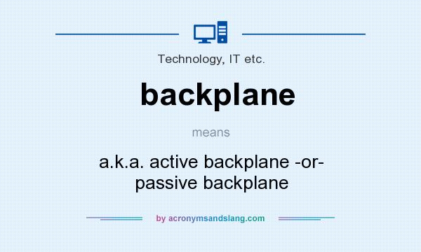 What does backplane mean? It stands for a.k.a. active backplane -or- passive backplane