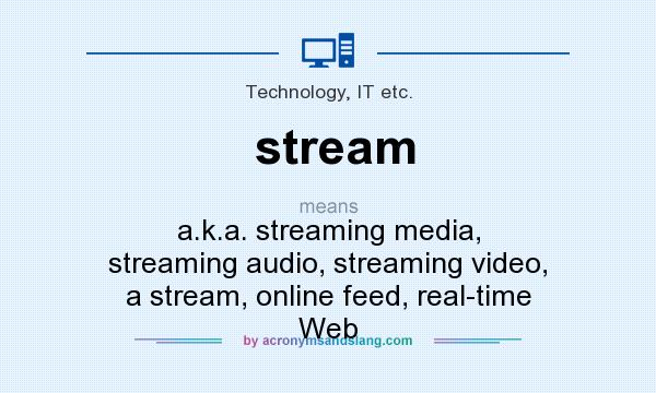 What does stream mean? It stands for a.k.a. streaming media, streaming audio, streaming video, a stream, online feed, real-time Web