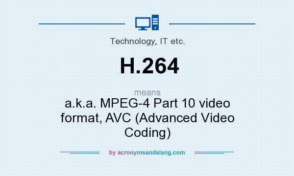 What does H.264 mean? It stands for a.k.a. MPEG-4 Part 10 video format, AVC (Advanced Video Coding)