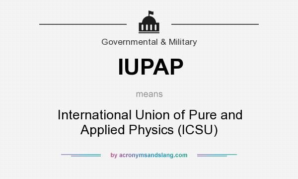 What does IUPAP mean? It stands for International Union of Pure and Applied Physics (ICSU)